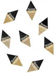 10 Confettis Bonne année noir et or 8 x 4 cm