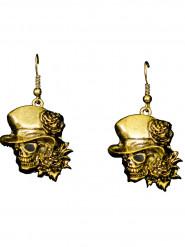 Boucles d'oreilles dorées tête de mort gothique adulte