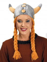 Casque viking avec tresses velours adulte