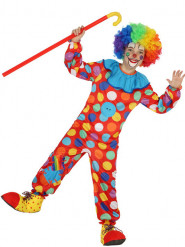 Déguisement clown multicolore à pois enfant