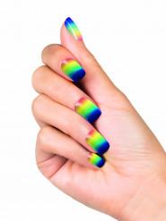 Faux ongles adhésifs arc-en-ciel femme