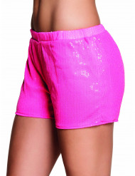 Shorty à sequins rose fluo femme