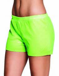 Shorty à sequins vert fluo femme