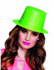 Chapeau haut de forme vert fluo à paillettes adulte
