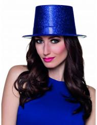 Chapeau haut de forme bleu royal à paillettes adulte