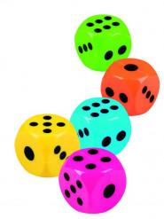 5 Dés colorés accessoire piñatas 2.5 x 2.5 cm