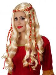 Perruque longue blonde avec rubans rouges femme