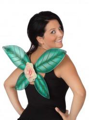 Ailes vertes à paillettes et fleur fée femme