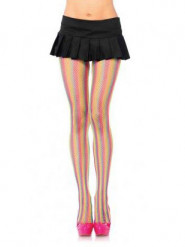 Collants résilles multicolores fluos femme