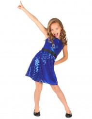 Déguisement robe disco bleue paillette avec gros noeud fille