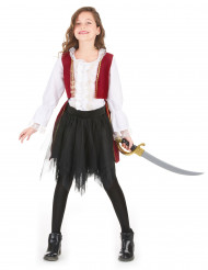 Déguisement pirate velours rouge pourpre et noir fille