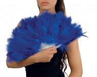 Eventail à plumes bleues