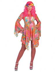 Déguisement hippie marbré multicolore femme