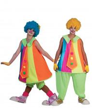 Déguisement de couple clown fluo adulte