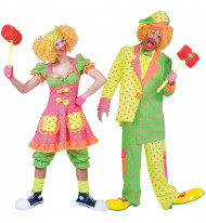 Déguisement de couple clown fluo à pois adulte