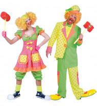 Déguisement de couple clown fluo à pois adulte