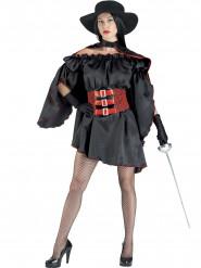 Déguisement bandit noire et rouge femme