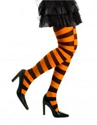 Collants rayés orange et noirs adulte