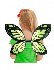 Ailes papillon noires et vertes fille