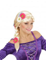 Perruque blonde à tresses avec fleurs femme