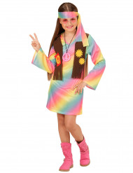 Déguisement hippie multicolore pastel fille