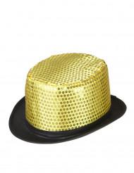 Chapeau haut de forme doré à sequins contour noir adulte