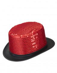 Chapeau haut de forme rouge à sequins contour noir adulte