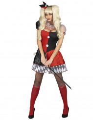 Déguisement arlequin rouge et noir femme