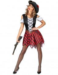 Déguisement Pirate  rayures rouges et noires femme