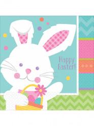 16 Serviettes en papier lapin de Pâques