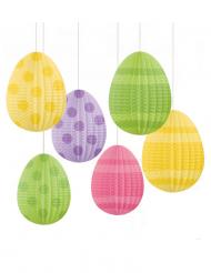 6 Décorations à suspendre Oeufs de Pâques 12 cm