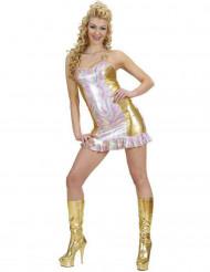 Déguisement holographique multicolore et or femme
