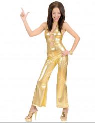 Déguisement combinaison disco dorée sexy femme