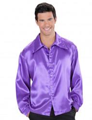 Chemise satinée violette homme