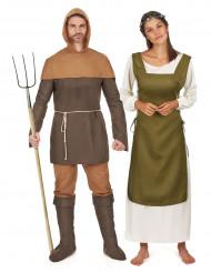 Déguisement de couple paysans médiévaux
