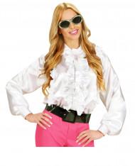 Chemise blanche avec froufrou femme