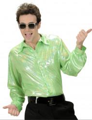 Chemise disco holographique verte homme