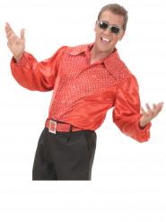 Chemise rouge satinée disco homme