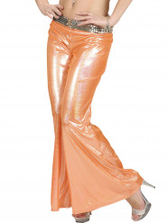 Pantalon disco holographique orange femme