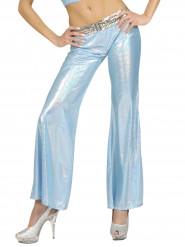 Pantalon disco holographique bleu femme
