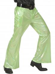 Pantalon disco holographique vert homme