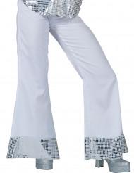 Pantalon disco blanc avec sequins sur le bas femme