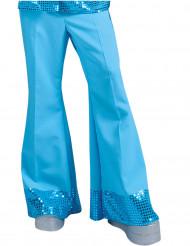 Pantalon disco bleu avec sequins sur le bas homme