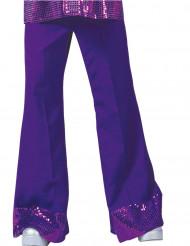 Pantalon disco violet avec sequins sur le bas homme
