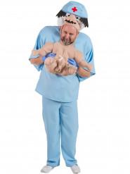 Déguisement humoristique bébé porté par son docteur adulte