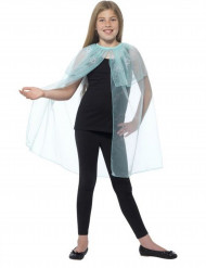 Cape bleue transparente avec flocons fille
