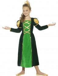 Déguisement reine médiévale verte fille