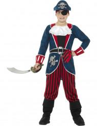 Déguisement capitaine pirate bleu et rouge garçon