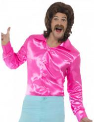 Chemise satinée rose fluo homme