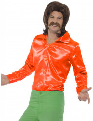 Chemise satinée orange fluo homme